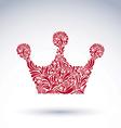Flower-patterned decorative crown art royal symbol vector image vector image