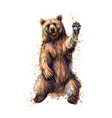 friendly brown bear sitting and waving a paw from vector image vector image