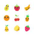fruits cute kawaii characters vector image