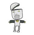funny comic cartoon robot with open head vector image vector image