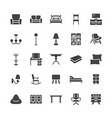 furniture flat glyph icons living room tv vector image vector image