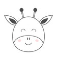 giraffe round face head line sketch icon kawaii