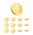 golden coin set rotating 3d golden coin isolated vector image