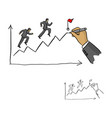hand of businessman leader drawing a line leading vector image