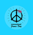 international peace day emblem with hippie symbol vector image vector image