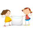 Kids holding a sign vector image vector image