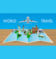 landmark on world map with flying airplane vector image