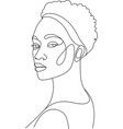 line art woman face drawing black woman afro