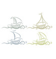 logos boats with wave vector image