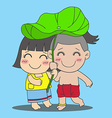 Lotus Leaf Boy and Girl vector image