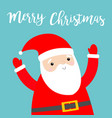 merry christmas santa claus holding hands up vector image vector image