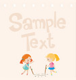 paper design with two girls drawing on floor vector image vector image