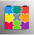 poster banner nine pieces puzzle infographic vector image vector image