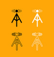 radio tower black and white set icon vector image vector image