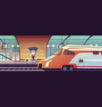 railway station with train and platform vector image