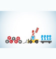 red businessman lead blue businessmen and tractor vector image vector image