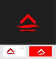Red real estate house roof logo icon vector image vector image