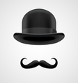 rich gentleman with moustaches and bowler hat vector image