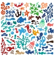 sea animals - doodles set vector image