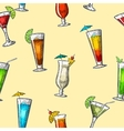 seamless pattern alcohol cocktail set vector image vector image