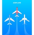 set airplanes flying in blue sky avia poster vector image