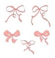 set hand drawn pink bow vector image