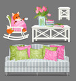 set home furniture white color and a fox wrapped vector image
