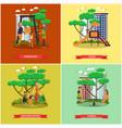 set kindergarten kids posters in flat vector image vector image