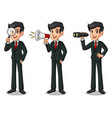 set of businessman in black suit looking for vector image