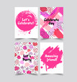 set of creative universal cards hand drawn vector image
