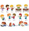 set of doodle kids character vector image vector image