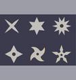 set shuriken icons ninja weapon samurai vector image