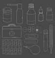 set with medical equipment medicines and first vector image vector image