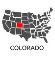 state colorado on map usa vector image vector image
