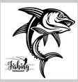 tuna big fishing on white logo vector image vector image