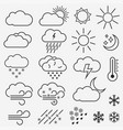 weather line icons symbols sun vector image