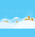winter landscape with a snowy village on the hills vector image vector image