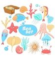 Funny cartoon sea creatures set vector image