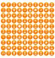 100 avatar icons set orange vector image