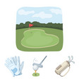 a ball with a golf club a bag with sticks gloves vector image vector image