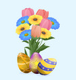 beautiful colored eggs and festive spring flowers vector image vector image
