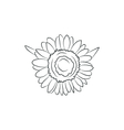 beautiful sunflower flower simple black lined icon vector image vector image