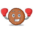 boxing chocolate biscuit character cartoon vector image vector image