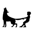 boy pulling wolf tail vector image vector image