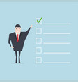 businessman with important checklist vector image