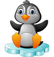 cartoon funny penguin sitting on ice vector image vector image
