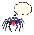 cartoon gross halloween spider with thought bubble vector image vector image
