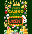 casino poker cards gold coins dice and chips vector image