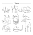 Cheese and Cutting Tools Sketch vector image
