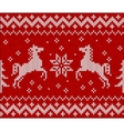 Christmas knit in Norway style with horses vector image